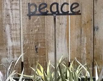 SHIP NOW - PEACE - Garden Stake - Metal Garden Sign - 19 Inches Tall