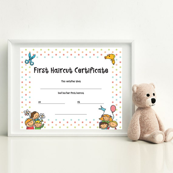 Haircut Certificate, First Haircut Certificate, Christmas Gift ...