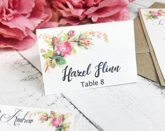 Vibrant Spring Flower wedding Place card