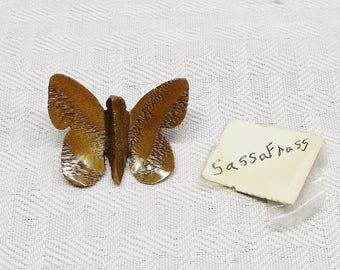 1970s Vintage Carved Sassafras Wood Butterfly Brooch