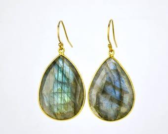 Blue Labradorite earrings, Gemstone earrings, gold drop earrings, Large Gemstone Earrings, Statement Earrings - Dangle Earrings