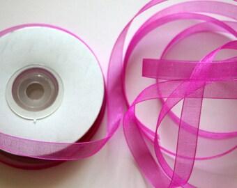 "3/8"" Organza Ribbon - Fuchsia - 25 yard spool"