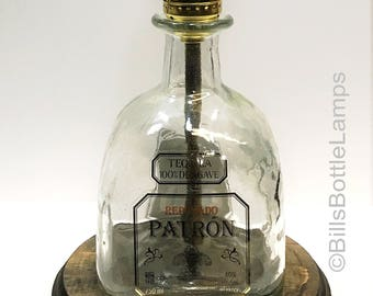 Patron Reposado Tequila Liquor Bottle TABLE LAMP With Wood Base, Desk  Accent Light, Home