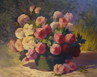 Roses(80x100sm size, 700dollar, oil painting, roled in the tube, modern art)