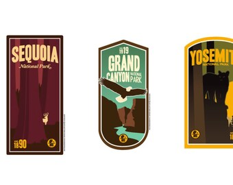 West Coast National Park Sticker Collection ( Sequoia, Grand Canyon, Yosemite)
