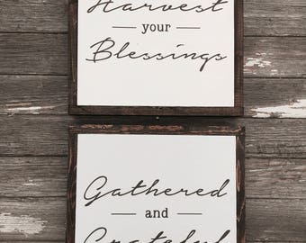 "Gathered and Harvest set of 2 | handmade wood sign | 13"" x 13"" 