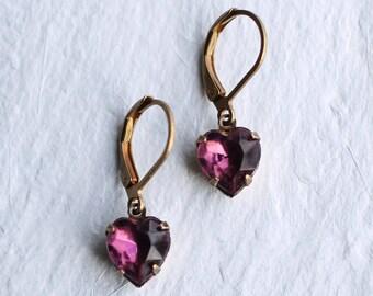 Amethyst Purple Heart Earrings ... February Birthstone Jewel Earrings