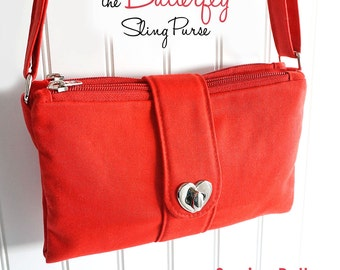 The Butterfly Sling Purse PDF Sewing Pattern:  Sew a cross-body bag with card slot & ID pockets.