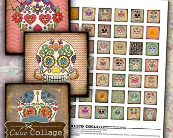 Day of the Dead 1x1 inch Digital Collage Sheet Printable Día de los Muertos for Pendants Magnets Paper Crafts Sugar Skulls Square Images