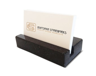 Business Card Holder - Black Absolute Granite - Office Desk Home, Recycled Granite, Business Gift