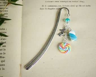Gift reader bookmark, Marshmallow, lollipop candy cane, multicolored lollipop polymer clay, bookmark