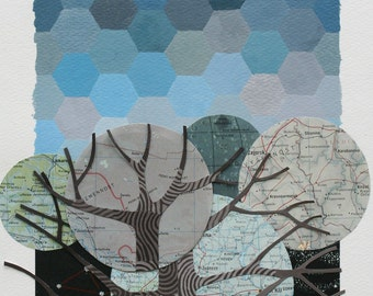 The Real Stars went Unnoticed I ORIGINAL matted collage mixed media, geometric art, vintage maps, handpainted background and trees