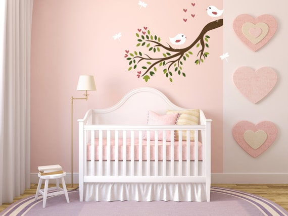Cute Birds on Branch Wall decal w/ Leaves Multi Color Baby Nursery, Kids Baby Nursery Decals