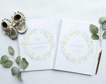 Baby Book Set   Modern Baby Memory Book, Baby Album, Baby Journal, Pregnancy Journal, Baby Shower Gift, Baby Girl