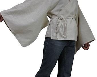Hemp Cache-Coeur Style Kimono Sleeve Blouse (BFS-134-02)