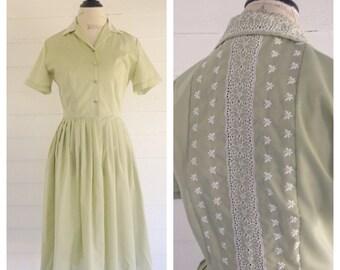 Vintage FERN Green 50s Dress w Eyelet Lace Detail