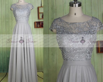 Grey Bridesmaid Dress Long,Lace Chiffon Simple Wedding Dress,Cap Sleeve Prom Dress Gown,Mother Of The Bride Dress,Formal Evening Gown Dress
