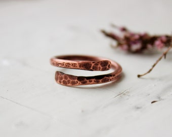 Copper ring Hammered copper ring Rustic ring Minimalist  ring Textured ring Bands rings Copper jewelry Unique gift Gift for her