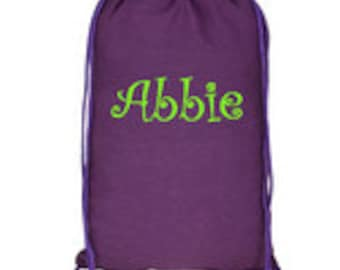 Monogrammed drawstring backpack in multiple colors
