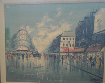 Signed original  Langley street scene oil painting