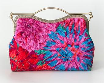 10.7'' Clutch Bag, Handbag, Kisslock - Cactus Dahlias Red