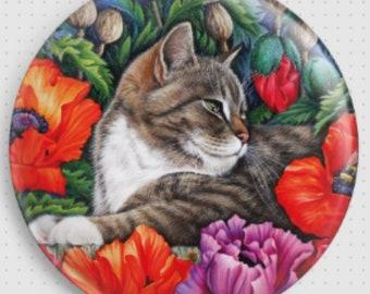 Cat Needle Minder, 'Poppies', Irina Garmashova-Cawton Cross Stitch Keeper, Kitten Fridge Magnet, Cross Stitch Accessory, Poppy Flower Magnet