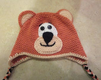 Crochet Bear Hat, Crochet Hat for Kids, Winter Hat, Bear Hat, Earflap Hat,