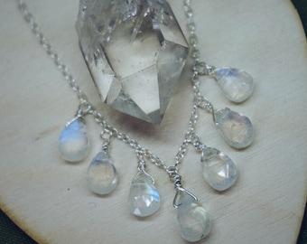 Droplets of Moonstone briolette sterling silver necklace