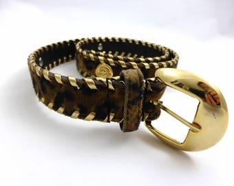 Vintage French Leopard Print Belt, 80s Vintage Belt