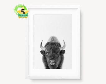 Buffalo Print, Bison Wall Art, Kids Room Decor, Boys Room Poster, Modern Minimal, Printable Buffalo, Black White Bison, Black and White