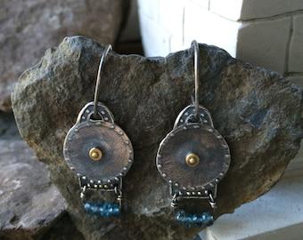 Silver Earrings, Blue Topaz Earrings, Gold Earrings, Ancient Jewelry, Roman Earrings, Roman Shield Earrings, Byzantine Earrings