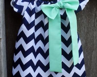 Navy Mint Green Chevron Bow Peasant Dress - Baby Girl