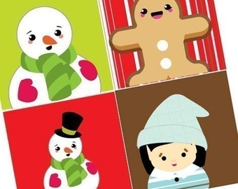 Charming Snowmen and Friends - XMAS Scrabble Size Printable Images - Buy 2 Get 1 Free - Instant Download - .75x.83 Inch - Auto Digital File