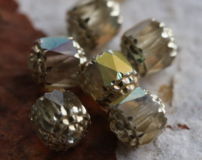 OPULENT No. 2 .. NEW 6 Fire Polished Cathedral Czech Glass Beads 8mm (6240-6)