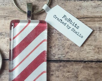 Handmade Christmas Candy Cane Stripes Keychain | Glass Tile | Domino | Christmas | Whimsical | Cute | Stocking Stuffer
