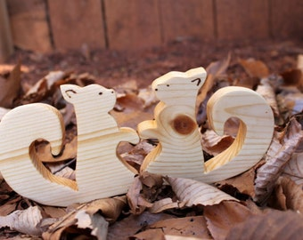 Set of two wooden squirrels- baby teether,nature table,cake topper......