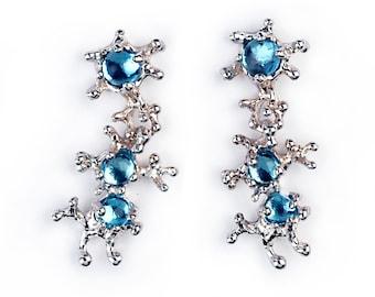 Between The Seaweeds Blue Topaz Earrings, 14k White Gold Earrings, Post Dangle Earrings Gold, Gift for Her, Gemstone Earrings