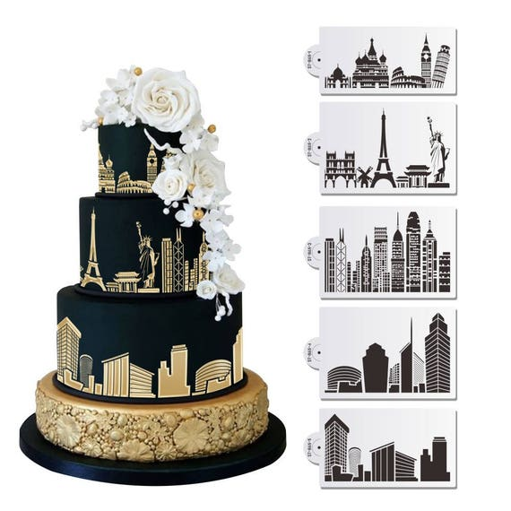 Bakell™ Stencil (8.5 wide) 5 PC Monuments and City Skylines (Eiffel ...