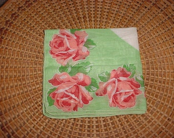 Green with Pink Roses Flower Leaf Hankie Hanky BEAUTIFUL Handkerchief Rolled Edge