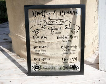 Wedding Program on Framed Glass-Personalized Wedding-Wedding Program-Framed Program-Custom Program-Wedding Keepsake-Program Keepsake