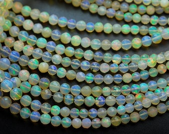 40 Carats,16.5 Inches,Super Finest,ETHIOPIAN Opal Faceted Round Rondelles Super Flashy Strand, Size 4-6mm