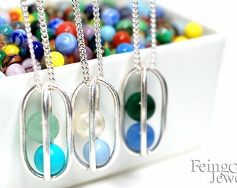 Gravity Collection: Two - CUSTOM Sterling Silver Necklace with Two Floating Gems - Free US Shipping