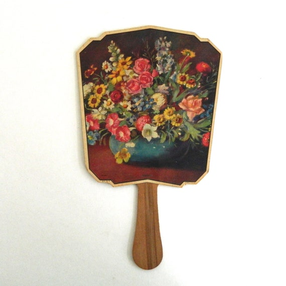Vintage Floral Advertising Fan Bennett Funeral Home & Ambulance Geneva NY