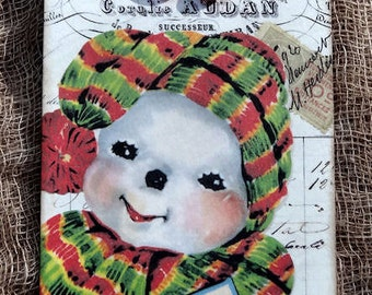 Merry Christmas Snowman Gift or Scrapbook Tags or Magnet #58