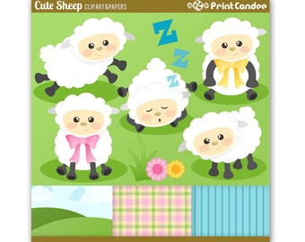 70% OFF SALE! - Cute Sheep - Digital Clip Art - Personal and Commercial Use - lamb farm animal counting sheep