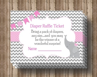DIAPER RAFFLE TICKET Baby Shower Pink  Gray Chevron Instant Download / Girl Baby Shower/ Elephant Baby Shower/ Matching Invitation Available