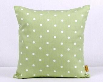 26x26, euro sham, pillow, Throw Pillow, Sage Green, Decorative Throw Pillow, polka dots, spots, case, 26 inch,case ,green, white, handmade