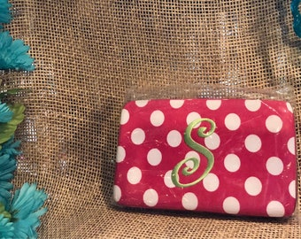"""Hot Pink & White Polka Dot Wallet with the initial """"S"""""""