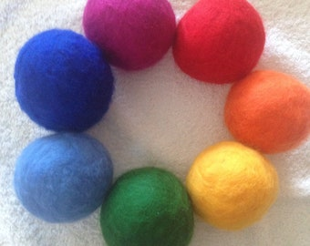 XL Rainbow Wool Dryer Balls for Laundry Room