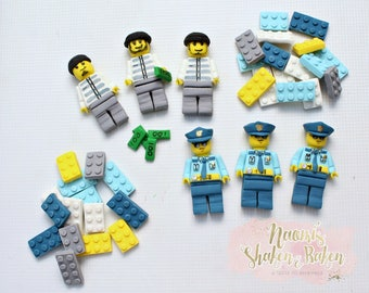 Edible Toy Block Man Toppers Full Set
